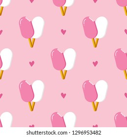 Cute and lovely eskimo ice cream and hearts seamless patern background for Valentine's Day and romantic design.