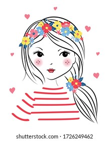 cute lovely girl. graphic tees vector illustration design and other uses