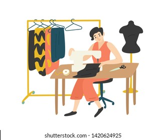 Cute lovely girl sitting at desk with sewing machine and enjoying her hobby. Fashion designer, needlewoman or seamstress working at home. Adorable female character. Flat cartoon vector illustration.