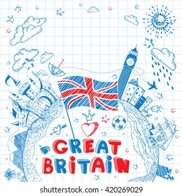Cute and lovely hand drawn doodle ink cartoon poster with Great Britain flag, ship, castle, cities, Big Ben on the notebook sheet. Tourism vector background with empty space.