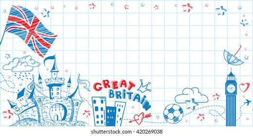 Cute lovely hand drawn doodle ink cartoon poster with Great Britain flag, castle, Big Ben on the paper sheet. Tourism vector background with empty space. Horizontal sticker, bookmark.