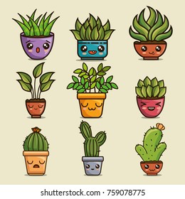 cute lovely kawaii house plants cartoons