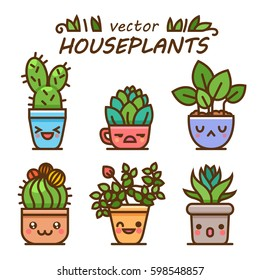 Cute lovely kawaii houseplants vector art. Kawaii faces flower pots. Cartoon style. Vector icons on white background.