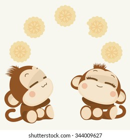 Cute lovely monkey couple. Happy New Year 2016. Vector Illustration