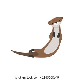 Cute lovely otter animal character vector Illustration on a white background