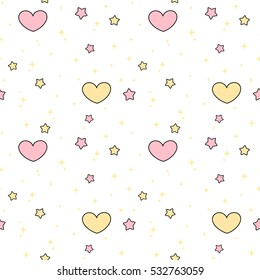 Cute Lovely Pink Yellow Hearts And Stars Seamless Vector Pattern Background Illustration