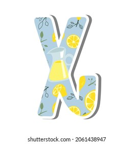 Cute lowercase alphabet 'x' with Lemonade Pattern on white silhouette and gray shadow. Lovely letter design for decoration. Vector Illustration about lettering.
