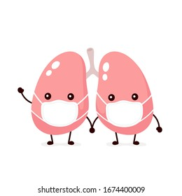 Cute lungs organ in medical mask. Vector flat cartoon character illustration icon design.Isolated on white background