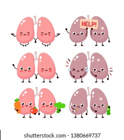 Cute lungs set. Healthy and unhealthy human organ. Vector modern style cartoon character illustration icon design. Bad habits,nutrition,lungs concept