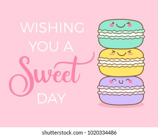 """Cute macarons illustration with text """"Wishing you a sweet day"""" for greeting card design"""