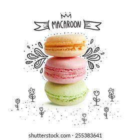Cute macaroon with doodles.  Vector food image