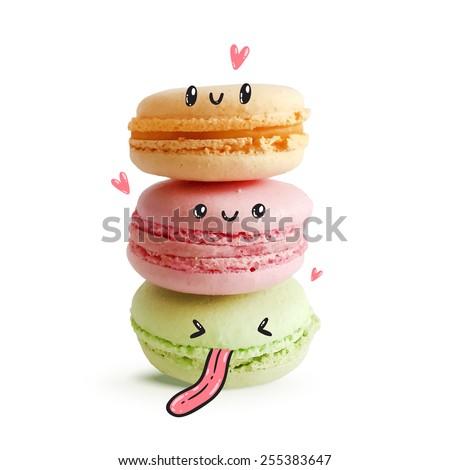 cute macaroon faces vector food image のベクター画像素材