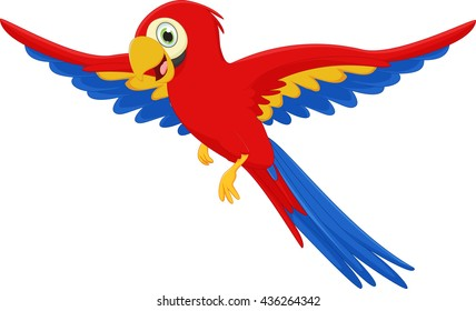 cute macaw bird cartoon flying