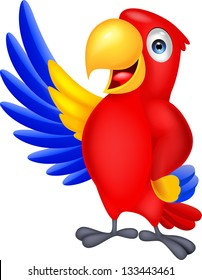 Cute macaw cartoon waving
