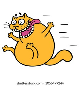 Cute mad cat flies with joy. Vector Illustration. Funny cartoon animal character hurry up.