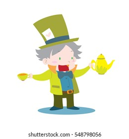 Cute Mad hatter from Alice in wonderland holding tea cup and kettle vector illustration