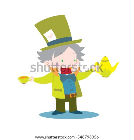 Cute Mad Hatter Alice Wonderland Holding Vector de stock (libre de ...