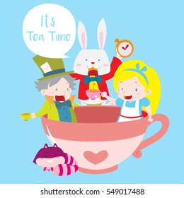 Cute mad hatter tea party with Alice, white rabbit and cheshire cat in isolated blue background vector illustration