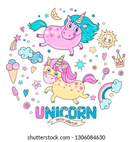 Cute magic collection with two unicorns, rainbow, clouds, ice cream, sun, hearts and stars. Word unicorn from the funny children's alphabet with the eyes. Lovely hand drawn element set for your design