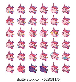 Cute magic collection with unicorn emoji. Vector illustration.