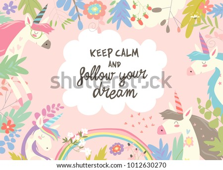 Cute Magic Frame Composed Unicorns Flowers Stock Vector (Royalty ...