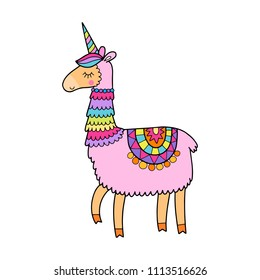 Cute magic llamacorn illustration. Llama with a unicorn horn.