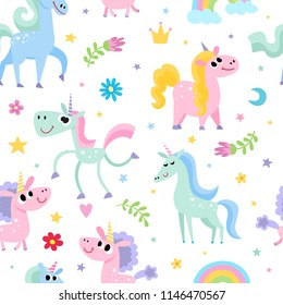 Cute magic pattern with unicorn isolated on white. Vector seamless pattern with magic horse with horn and fairy elements - rainbow, stars, flowers used for kids magazine, children book, textile.