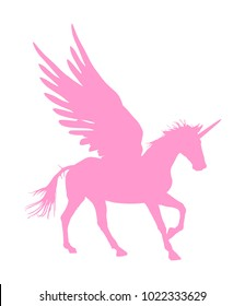 Cute magic pink Unicorn Pegasus vector silhouette isolated on white background. Pegasus silhouette, majestic mythical Greek winged horse.  Mythology flying Horse from dream. Symbol of freedom.