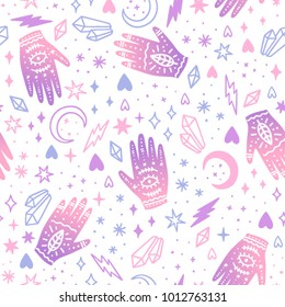 Cute magic seamless pattern. Crystals, hands, stars. Vector background