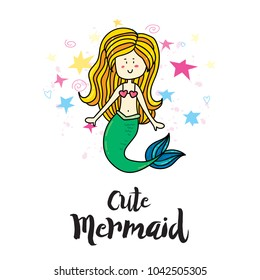Cute magic summer magic mermaid girl. Card print, poster or t-shirt print hipster trendy design concept template