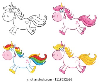 Cute Magic Unicorn Cartoon Mascot Character Set 1. Vector Collection Isolated On White Background