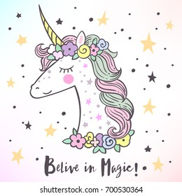 The cute magic Unicorn and fairy elements collection. Isolated vector illustration.