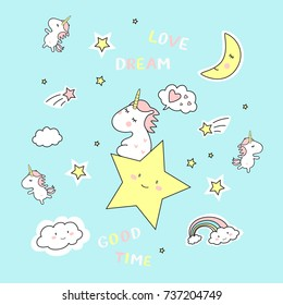 cute magic with unicorn on blue background