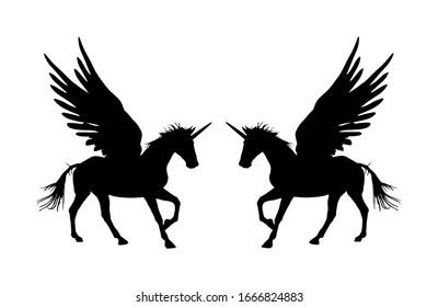 Cute magic Unicorn Pegasus vector silhouette isolated on white background. Pegasus silhouette, majestic mythical Greek winged horse.  Mythology flying Horse from dream. Symbol of freedom.
