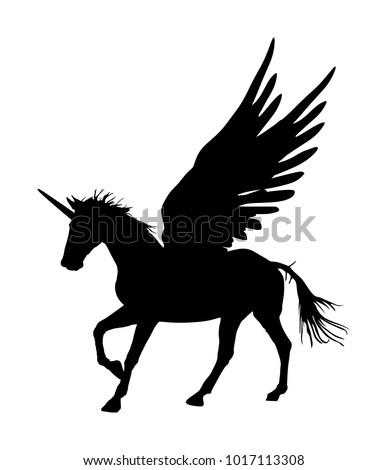 Cute Magic Unicorn Pegasus Vector Silhouette Stock Vector Royalty