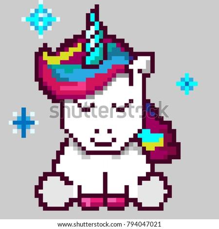 Cute Magic Unicorn Pixel Art Stock Vektorgrafik Lizenzfrei