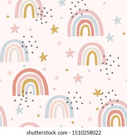 Cute magical rainbow sky and stars seamless repeat pattern, scandi nursery, fun pink pretty
