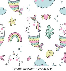 Cute magical unicorn, cat - mermaid, unicorn - mermaid, dragon, Narwhal,  vector illustration. Cool summer seamless pattern with unicorn. Can be used for T-shirt design and children's room decor.