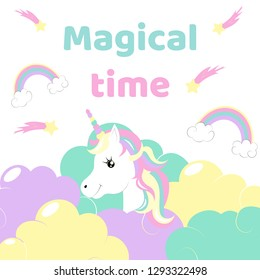 Cute magical unicorn in the clouds with creative inspiration. Vector design isolated on white background. Print for t-shirt or sticker. Romantic hand drawing illustration for children.