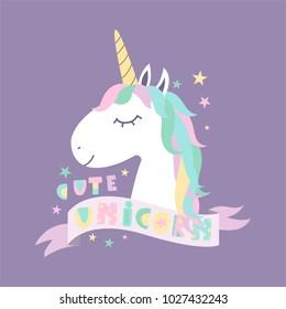 Cute Magical Unicorn. Design for child card, sticker, badge, patch, phone case, poster, t-shirt, mug etc.