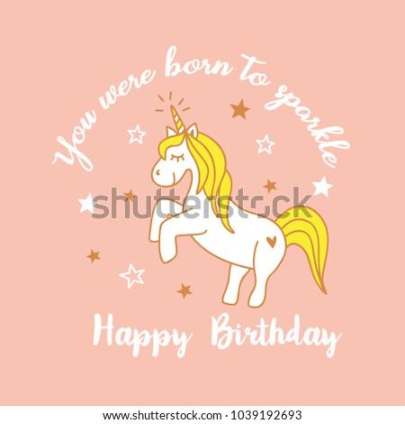 Cute Magical Unicorn Design Happy Birthday Image Vectorielle De