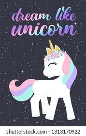 Cute magical unicorn. Handwritten lettering Unicorn Be like unicorn. Unicorn party, Birthday. Hand drawing illustration for childre