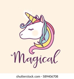 Cute Magical Unicorn Head Vector Design
