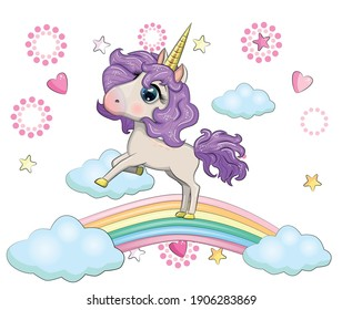 Cute magical unicorn on a rainbow. Greeting card, concept, print, design.