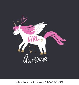 Cute magical unicorn pegasus art. Cartoon style, unique girl print for nursery posters, cards, mugs, clothes and other. Vector Illustration, clipart.