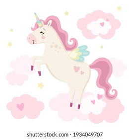 Cute magical unicorn in pink clouds. Little princess theme. Vector hand drawn illustration. Beautiful fantasy cartoon animal. Great for kids party, greeting cards, invitation, print for apparel, book