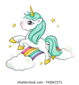 Cute magical unicorn and rainbow.  Vector design isolated on white background. Print for t-shirt or sticker. Romantic hand drawing illustration for children.
