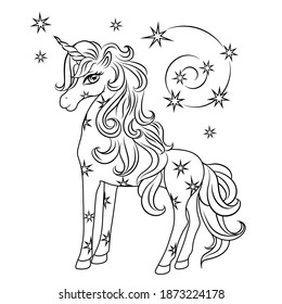 Cute magical unicorn with stars. Black outline. Vector design isolated on white background. Romantic hand drawing illustration for children. Coloring picture.