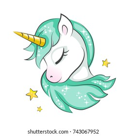Cute Magical Unicorn Vector Design Isolated On White Background Print For T Shirt