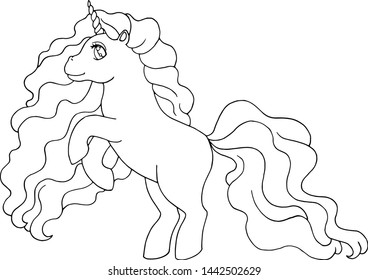 Cute magical unicorn. Vector illustration for coloring book pages for adults and kids